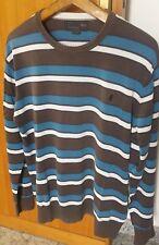 Marlboro maglia maglione uomo Xl cotone righe bianco blu marrone