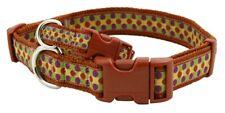 Douglas Paquette DOTS RUST Nylon & Ribbon Adjustable Dog Collar, Harness