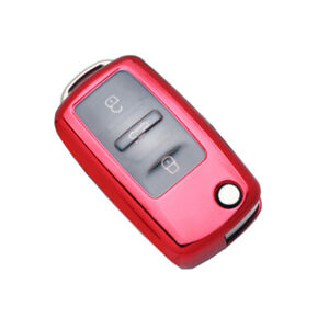 1Pcs Red TPU Car Folding Remote Control Key Case Cover For Passat Lavida POLO