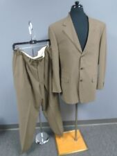 PAL ZILERI Mocha Brown Solid Wool Lined Three Button Pant Suit Size 52R DD0071
