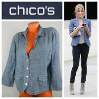 Chico's Sz 3 (XL 1X) Blazer Jacket Chambray Career Casual     u