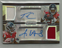 Tevin Coleman Justin Hardy 2015 Prizm Pairs Dual Jersey Auto #d 139/149 Falcons