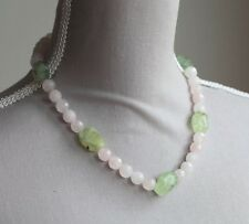 CHUNKY ROSE QUARTZ & PREHNITE NECKLACE (PINK & GREEN) SILVER PLATED CLASP