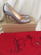 Christian Louboutin Fifi 85 Silver Glitter Wedding Shoes Heels Uk 4.5 Eu 37.5