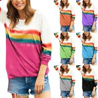 Women Gradient Tie Dye Pullover Long Sleeve T Shirt Loose Blouse Lady Casual Top