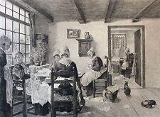 Les couturières gravure Abot d'après Frederic Charles Uhde fin XIXe