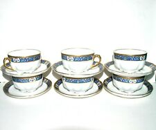 LIMOGES JBT Série de 6 tasses à thé en porcelaine - frise bleu et or - 8.5cm