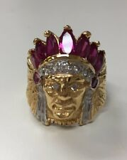Silver 925 Men's Indian Ring With Red Stone And 18k Gold Plate