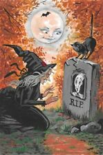 LE 4x6 HALLOWEEN POSTCARD 2/150 RYTA RARE WITCH CEMETERY HAUNTED BLACK CAT MOON