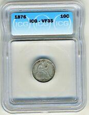 1876 SEATED DIME ICG VF35