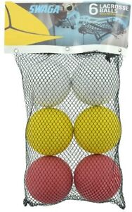 Lacrosse Balls by Swaga, Bag of 6 1 Bag Red, Yellow & White