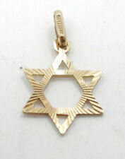 Very Nice Petite 14K Yellow Gold Textured Jewish Star of David Charm A377