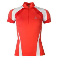 Löffler Cycle Jersey Top Ladies Short Sleeve Half Zip Shirt Red White UK 8 XS *1