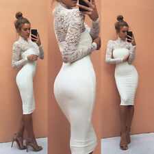 Fashion Women Bandage Bodycon Long Sleeve Club Evening Party Short Mini Dress