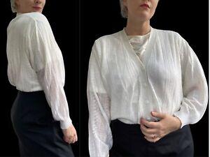 Vintage Cardigan 12 14 UK 80s LITTLEWOODS White Boho Balloon Sleeves Cottagecore