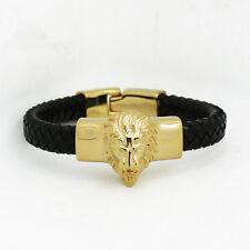 Mens Stainless Steel Gold Lion Head Genuine Leather Bangle Bracelet + Box #B182