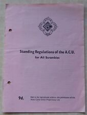 AUTO CYCLE UNION - STANDING REGULATIONS OF THE A.C.U. FOR SCRAMBLES - 1965/6
