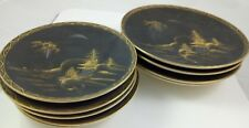 ANTIQUE JAPANESE MATTE BLACK GOLD & SILVER SATSUMA POTTERY 9 PLATES SIGNED