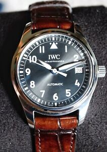 IWC Pilot Slate Dial Brown Strap Steel 36mm automatic Watch IW324001 With Papers