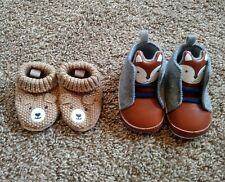 Baby Boy Shoes & Booties Size 0-3 & 3-6 Months Lot Of 2 Soft Crib Shoes Woodland