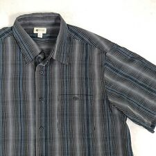 Haggar Mens Luxury Striped Casual Shirt Modern Gray Sz XL