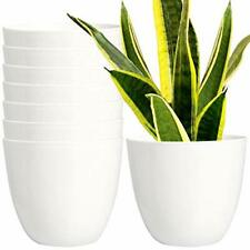 7 Pack 6.5 Inch Plastic Planters Indoor Flower Plant Pots Modern White Stand
