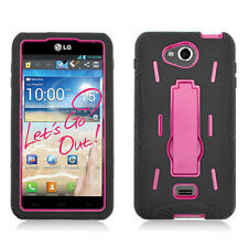 MetroPCS LG Spirit 4G Impact Hard Rubber Case Phone Cover Kick Stand Black Pink