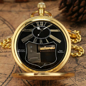 New Exquise Gold Musical Movement Pocket Watch Hand Crank Playing Music Watch