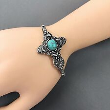 Design Turquoise Accent Bangle Bracelet Antique Silver Unique Simple Cross