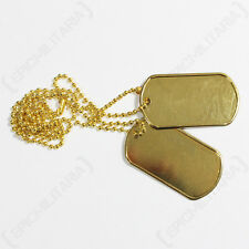 US DOG TAGS - Gold - WW2 Repro American Military Metal Tag Set