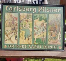 More details for carsten ravn danish advert poster carlsberg pilsner beer vintage old pub picture