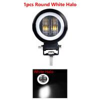 "1x 3"" Round LED Work Light Spot DRL White Angel Eyes Halo Offroad ATV Motor 4WD"