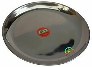 Stainless Steel Round Dinner Plate Food Dishes for Serving Snack Camping Picnic