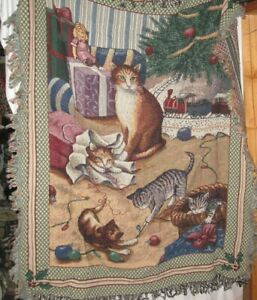 Cats - Purrrfect Christmas Woven Cotton Tapestry Throw Blanket - NEW