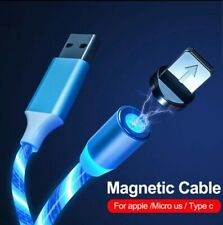 LED Light Up magnetic Type-C USB Cable Charging Cord For micro USB iPhones