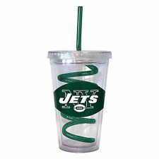 NFL New York NY Jets 16 oz Double Wall Acrylic Tumbler with Swirl Straw