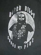 Vintage 1990s BIKER BILLY Cooks With Fire T Shirt Harley Davidson XL Motorcycle