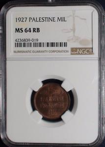 :1927 1-MIL PALESTINE KM#1 SELECT-BU NGC MS 64 RB RARE LOW-POP-R4 HIGHEST-GRADES
