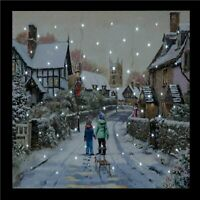 Christmas Snowman Snow Scene Light up Fibre Optic LED Canvas/Picture 40 x 30cm