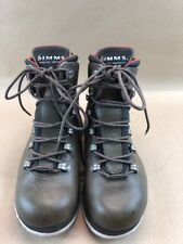 Simms Brown Leather High Top Felt Bottom Fly Fishing Boots Waders Sz 6 Men's