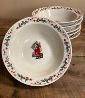 Gibson Christmas Soup/Cereal Bowls - Santa, Tree - Holly Berry Border Set of 6