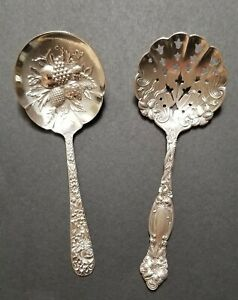 2 Kirk & Sons Repousse Sterling Silver Berry or Casserole Spoons