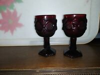 "Pair of Avon Cape Cod Ruby Red Glass Wine Goblets, 4 1/2"" Tall x 2"" Diameter"