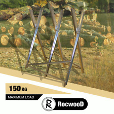 More details for log holder saw horse heavy duty chainsaw metal rocwood sawing serrated 150kg
