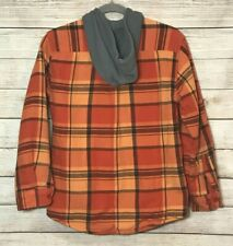 LL Bean Boys Fleece Lined Hooded Flannel, Orange Plaid, Med 10/12