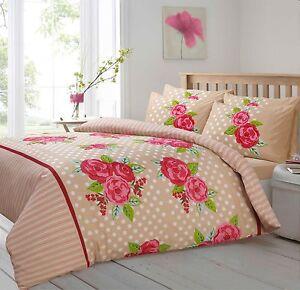 Floral Rose Duvet Quilt Cover Bedding Set Single Double King Natural Beige Polka