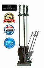 Fireplace Tool Set 4-Piece Black Stand Poker Shovel Brush Broom Fire Tools