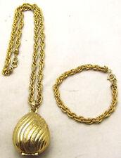 "RARE 19"" AVON Necklace & 7"" Bracelet SET w/Perfume Glace Pendant Gold Tone"