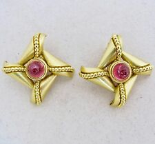 BIG Pair of 18K Yellow Gold Clip On Earrings with 7.7mm Pink Tourmaline  (29.4g)
