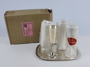 """Vintage Leonard Silver Silver Plated ST/4 Champagne Flutes 7"""" on Tray 10""""  Good"""